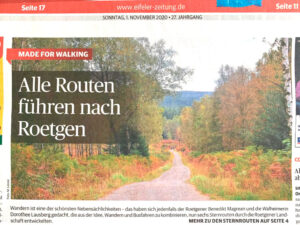 Sternrouten Roetgen in Zeitung am Sonntag 01.11.2020