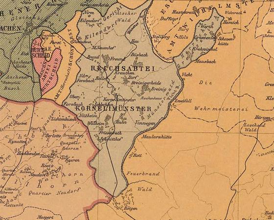 Carte du territoire de l'abbaye impériale de Kornelimünster vers 1789